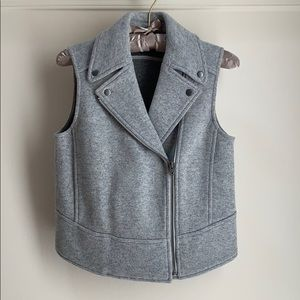 Club Monaco Moto Vest Gray Wool Sz XS
